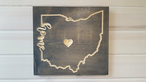 Home is Where the Heart Is Wood Wall Art 10 in x 10 in - Celebrate Local, Shop The Best of Ohio