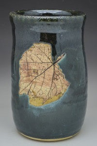 Smokey Blue Grape Leaf Hand Thrown Ceramic Wine Chiller - Celebrate Local, Shop The Best of Ohio