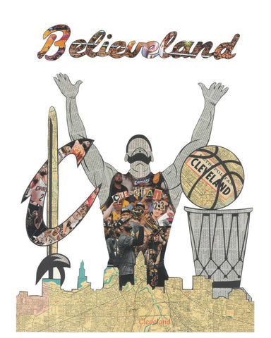 Believeland LeBron James Vintage Print 11 x 17 - Celebrate Local, Shop The Best of Ohio