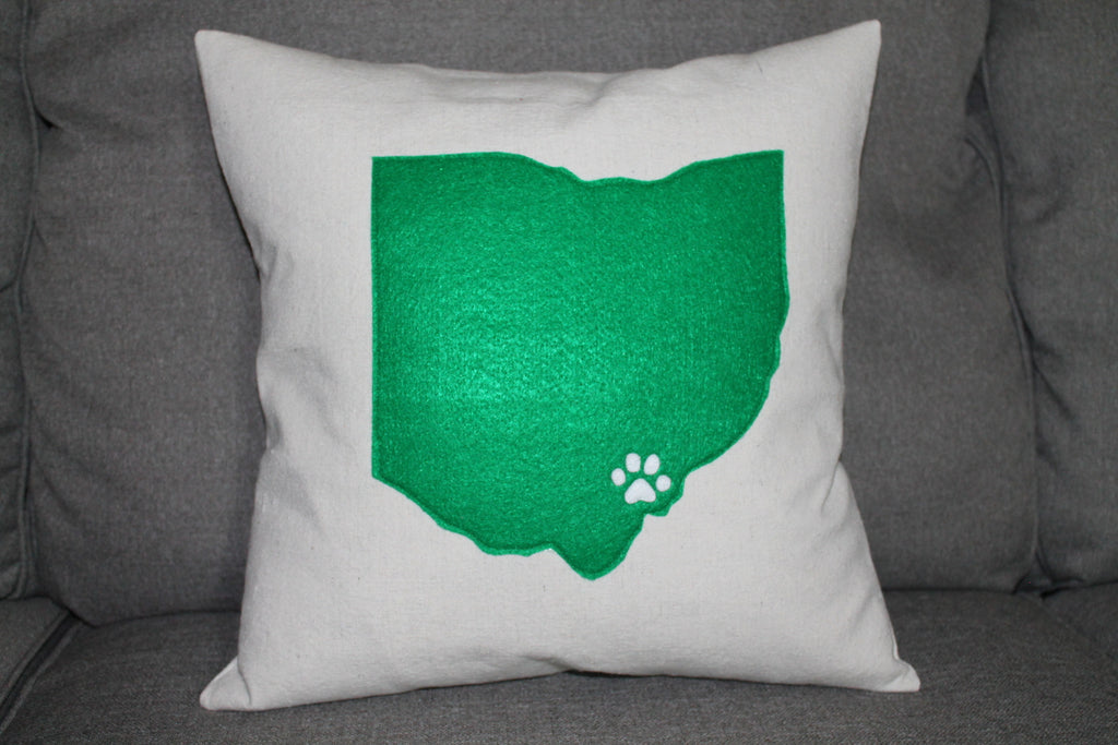Bobcat Pawprint Pillow And Cover - Celebrate Local, Shop The Best of Ohio