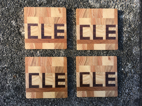 CLE Wood Coasters Set of Four - Celebrate Local, Shop The Best of Ohio