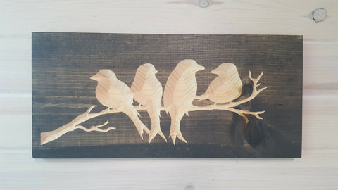 Four Birds - Wood Wall Art 7 in x 16 in
