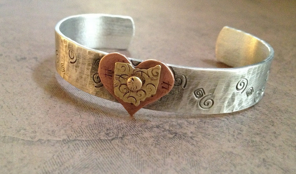 Ohio Heart Shape Cuff Copper Bracelet - Celebrate Local, Shop The Best of Ohio