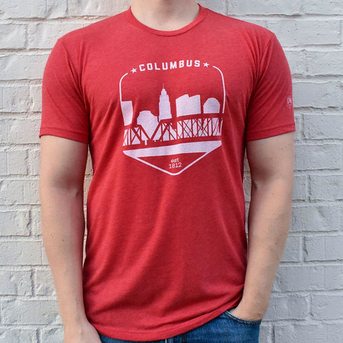 Columbus Ohio Red Skyline Shield Retro Vintage T-shirt - Celebrate Local, Shop The Best of Ohio