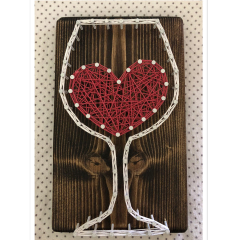 Wine Heart String Art 4 in x 7 in