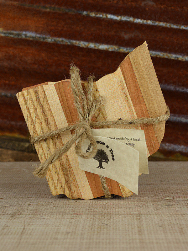 State of Ohio Shape Wood Coaster Set - Celebrate Local, Shop The Best of Ohio