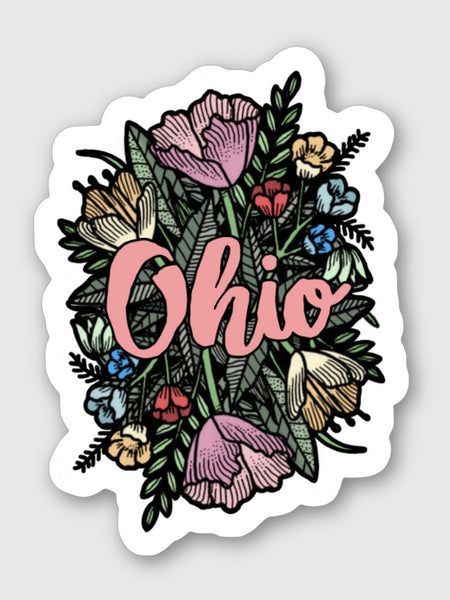 Floral Ohio Sticker 4x5 - Celebrate Local, Shop The Best of Ohio