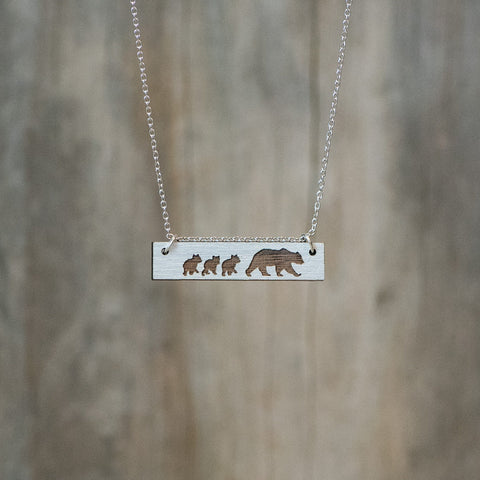 Natural Walnut Bear with Cubs Necklace - Celebrate Local, Shop The Best of Ohio