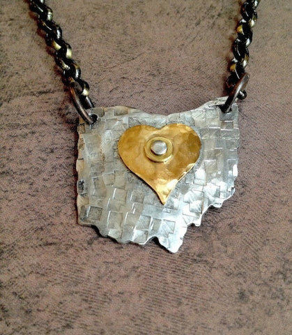 Ohio Heart Mixed Metal Necklace - Celebrate Local, Shop The Best of Ohio