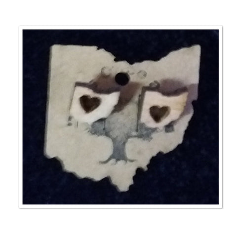 Ohio Shape Wood Stud Earrings (Variety of Designs) - Celebrate Local, Shop The Best of Ohio