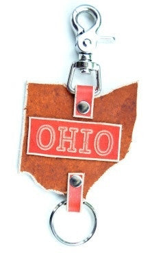 Ohio Shape Leather Key Ring (3x3) - Celebrate Local, Shop The Best of Ohio