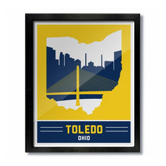 Toledo Skyline Blue Print - Celebrate Local, Shop The Best of Ohio