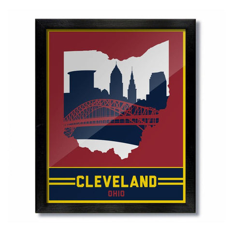 Cleveland Skyline Wine and Gold Print - Celebrate Local, Shop The Best of Ohio