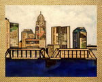 Columbus Skyline Wood Print with Stand 5x7 - Celebrate Local, Shop The Best of Ohio