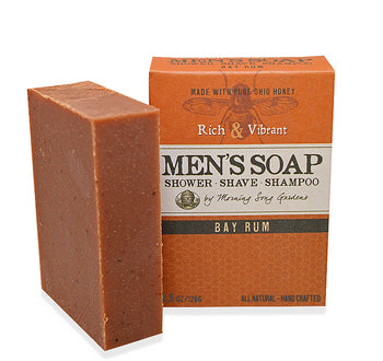 Mens Soap Bar - Bay Rum - Shower, Shave, Shampoo (4.5 oz) - Celebrate Local, Shop The Best of Ohio