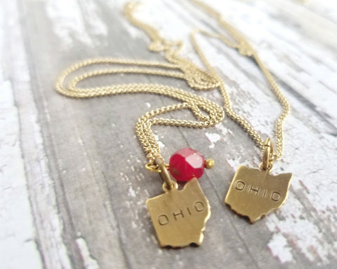 State of Ohio Brass Stamped Necklace - Celebrate Local, Shop The Best of Ohio