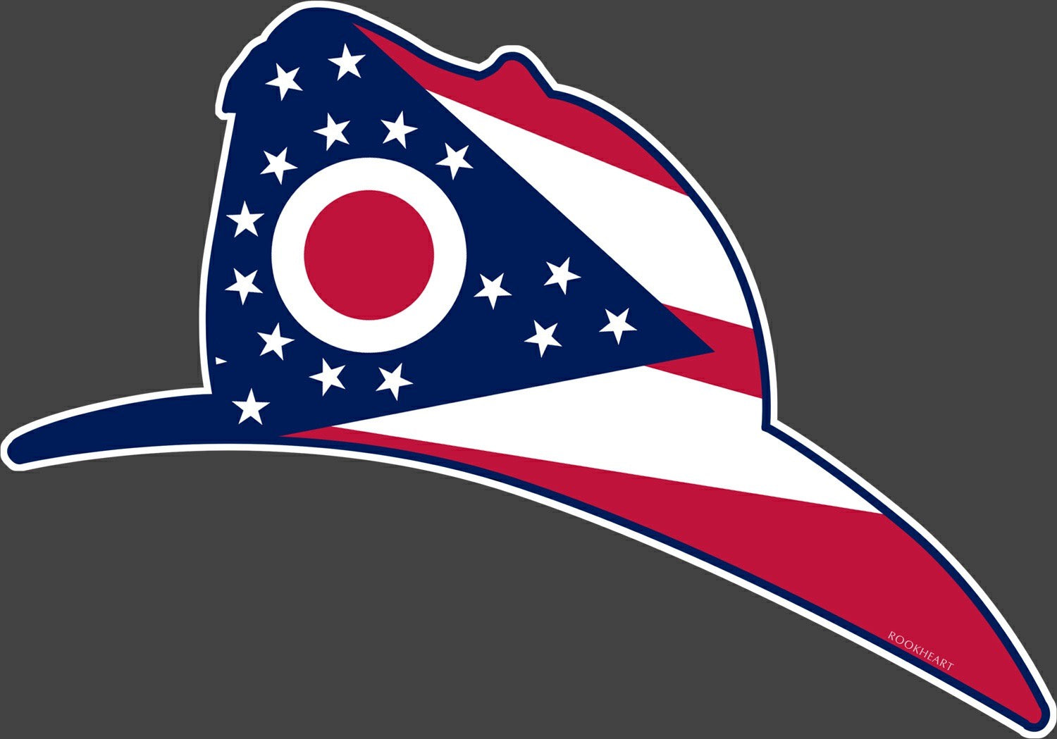 Fireman Helmet Ohio State Flag Vinyl Decal