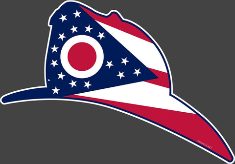 Fireman Helmet Ohio State Flag Vinyl Decal - Celebrate Local, Shop The Best of Ohio