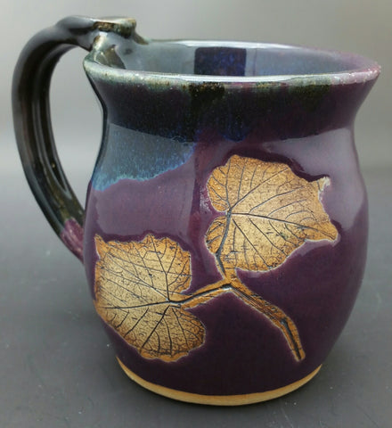 Purple Grape Leaf Hand Thrown Ceramic Mug - Celebrate Local, Shop The Best of Ohio