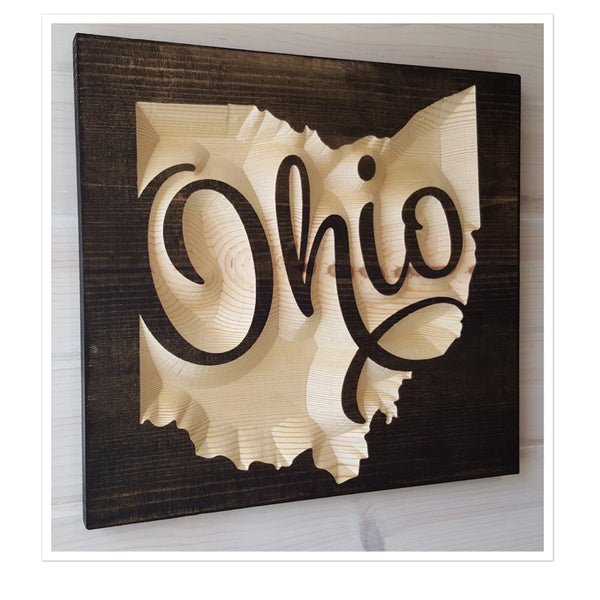 Script Ohio Wood Wall Art (Variety of Stains)