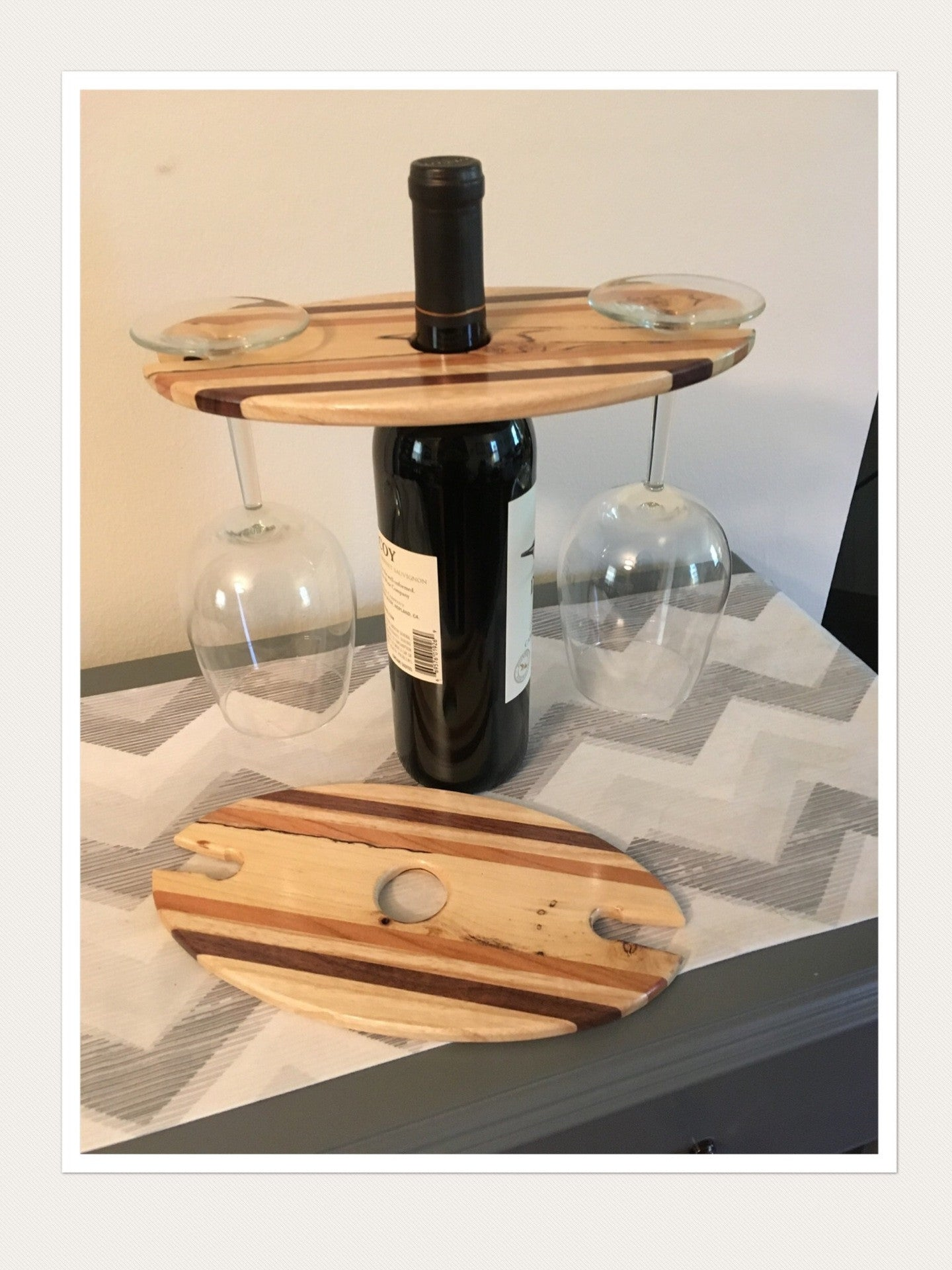 Wood In-Lay Wine Rack