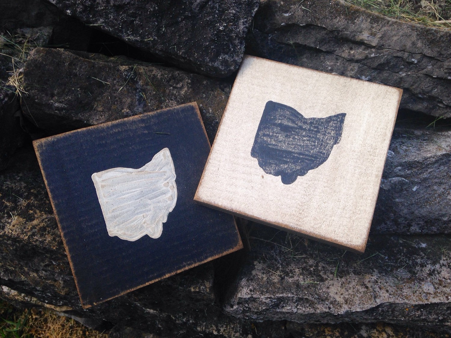 State of Ohio Wood Block Coaster