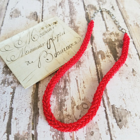 Vintage Red Bead Woven Necklace - Celebrate Local, Shop The Best of Ohio