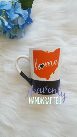 Ohio Home Glitter Dipped Orange/Black Mug - Celebrate Local, Shop The Best of Ohio
