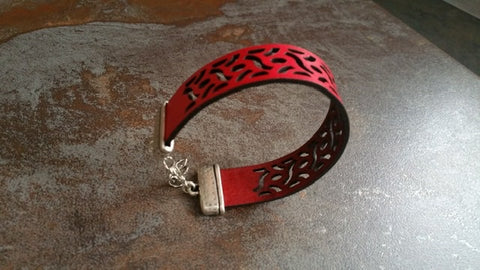 Laser Cut Designed Leather Bracelet (Scarlet and Gray) - Celebrate Local, Shop The Best of Ohio