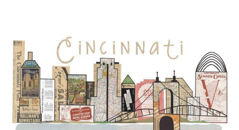 Cincinnati Skyline Vintage Print 11 X17 - Celebrate Local, Shop The Best of Ohio