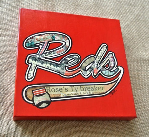 Cincinnati Reds 12 x 12 Mixed Media - Original - Celebrate Local, Shop The Best of Ohio