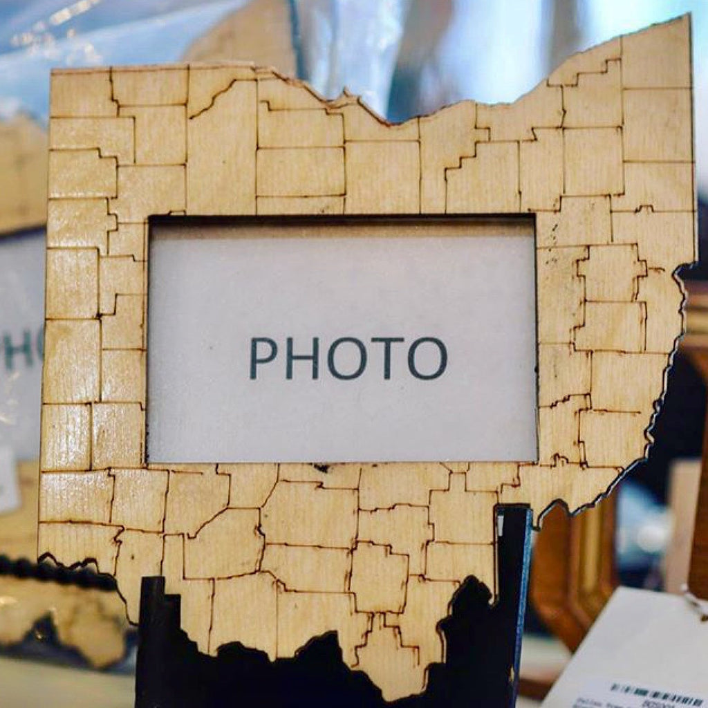Ohio Counties Map Wood Photo Frame - Celebrate Local, Shop The Best of Ohio