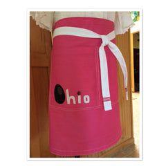 Pink OHIO Women's Half Apron - Celebrate Local, Shop The Best of Ohio