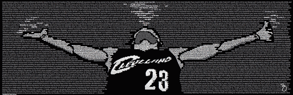 History of Lebron James Typographical Print 11.75 x 36 - Celebrate Local, Shop The Best of Ohio