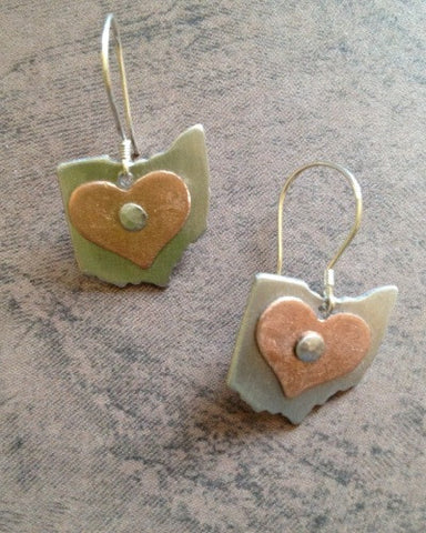 Ohio Shape Mixed Metal Earrings - Celebrate Local, Shop The Best of Ohio