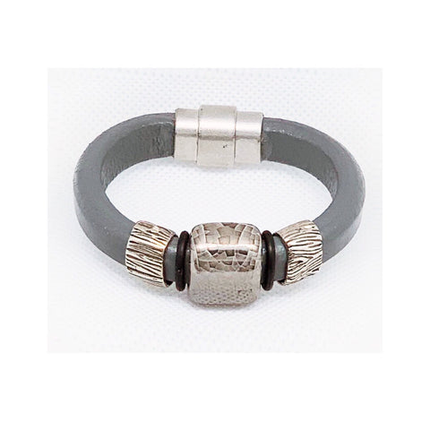 Grey Leather and Ceramic Bracelet - Celebrate Local, Shop The Best of Ohio