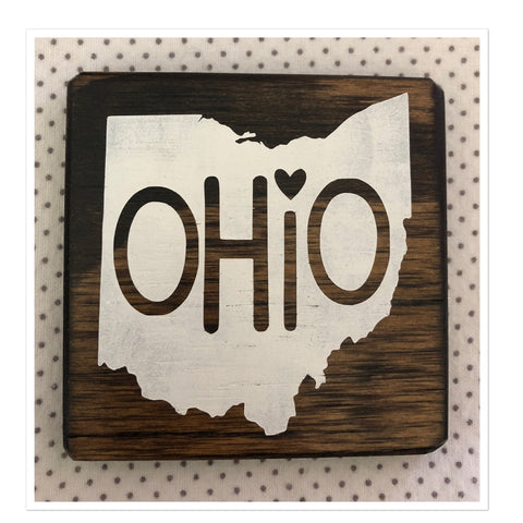 Ohio Love Coaster Handpainted  4 x 4 Inch - Celebrate Local, Shop The Best of Ohio
