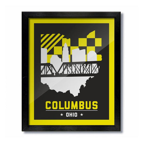 Columbus Skyline Yellow and Black Print - Celebrate Local, Shop The Best of Ohio