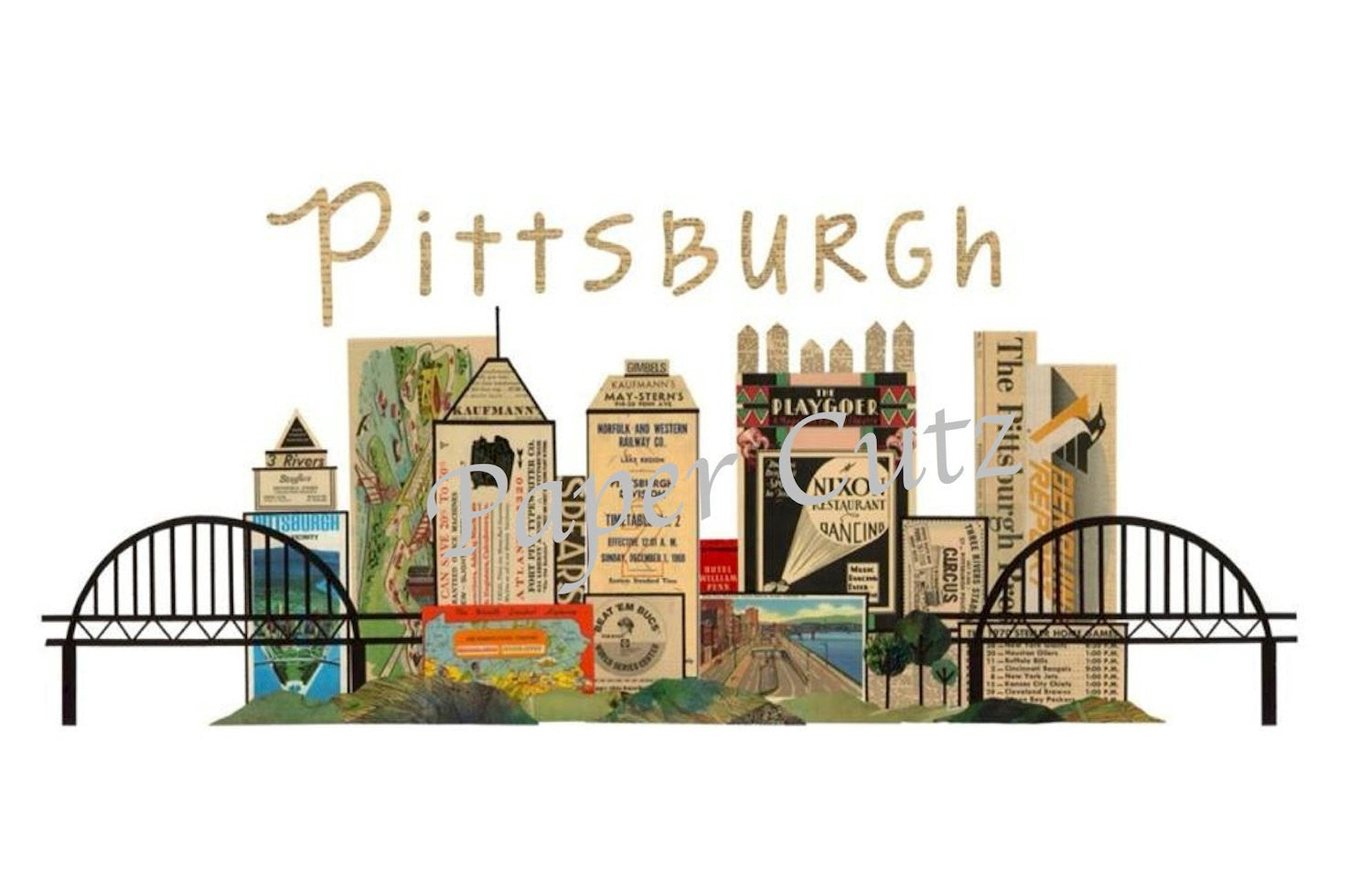 Pittsburgh Skyline Vintage Print 11 x 17 - Celebrate Local, Shop The Best of Ohio