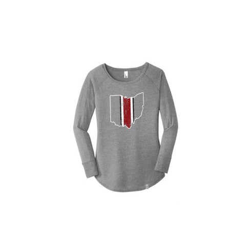 Ohio Helmet Long Sleeve Womens T-Shirt - Celebrate Local, Shop The Best of Ohio