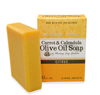 Carrot & Calendula Olive Oil Soap - Citrus (4.5 oz) - Celebrate Local, Shop The Best of Ohio