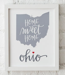 Ohio Heart Art Print Framed (Variety of Images) 8x10