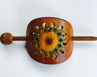 Retro Leather and Wood Hair Stick - Celebrate Local, Shop The Best of Ohio
