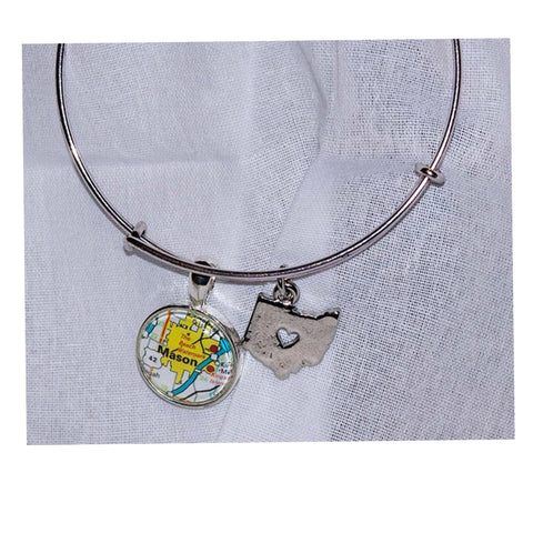 Ohio City Map Bangle Bracelet - Celebrate Local, Shop The Best of Ohio
