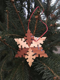 Snowflake Shaped Ash and Cherry Wood Ornament Gift Box - Set of 5 - Celebrate Local, Shop The Best of Ohio