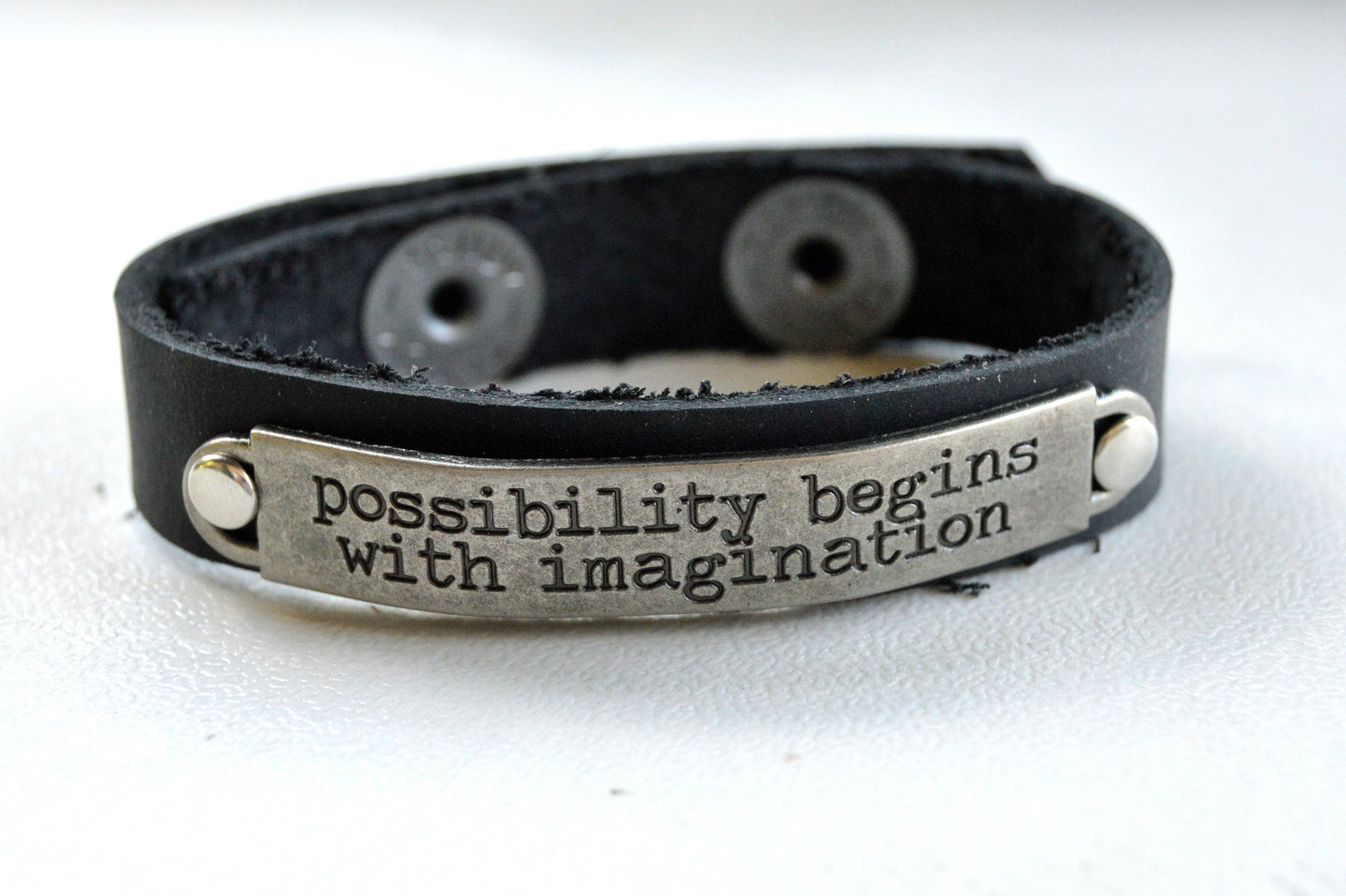 Black Leather Bracelet Inspirational Saying II - Celebrate Local, Shop The Best of Ohio