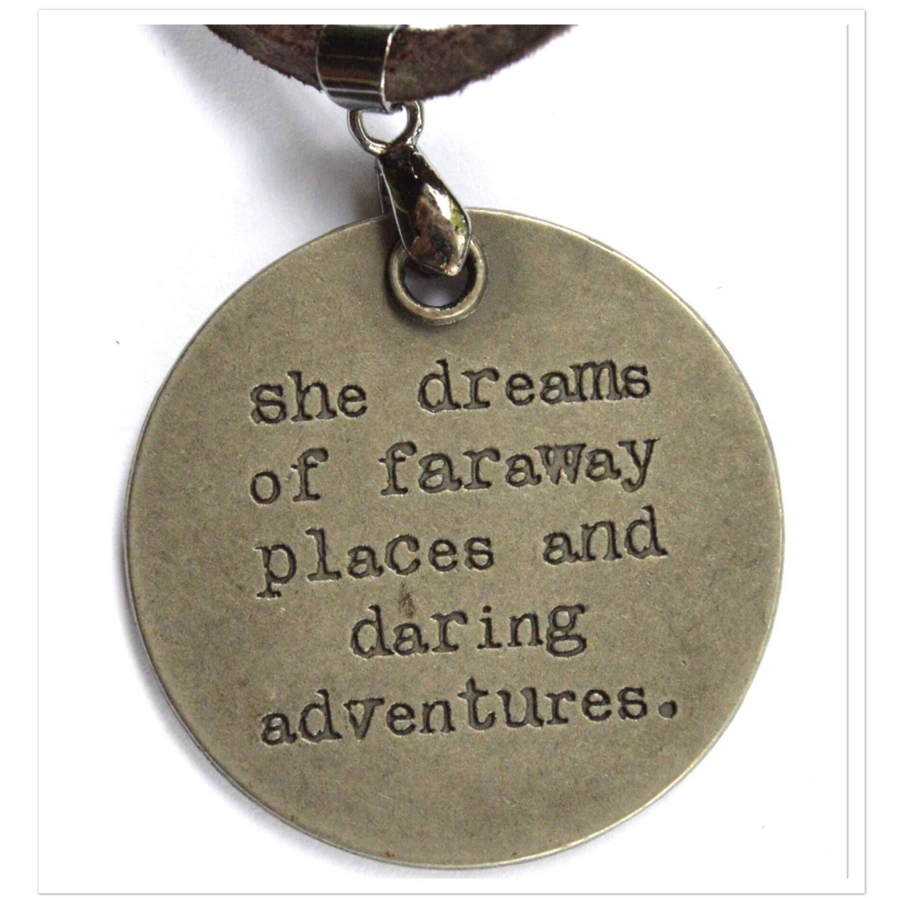 Leather Cord Necklace with Inspirational Charm (Varietyof Sayings)