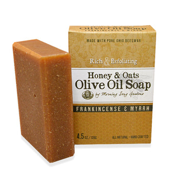 Honey & Oats Olive Oil Soap - Frankincense and Myrrh (4.5 oz.)