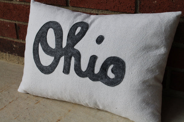 Script Ohio Applique Pillow - Celebrate Local, Shop The Best of Ohio - 2