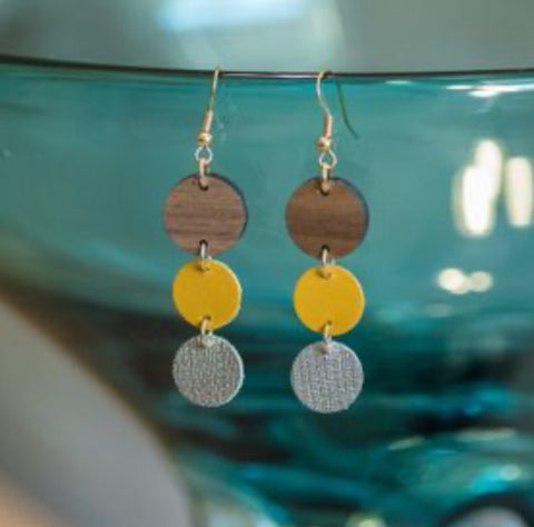 Ombré Circles Earrings Yellow